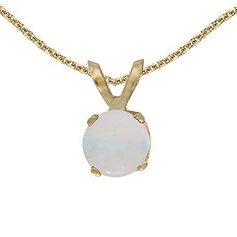14k Yellow Gold Round Opal Pendant with 18