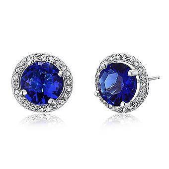 925 Sterling Silver Round Cut Blue Created Sapphire Stud Earrings