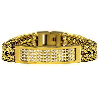 18 k Gold Plated 2 Zeile CZ Franco Link Armband 8 Zoll