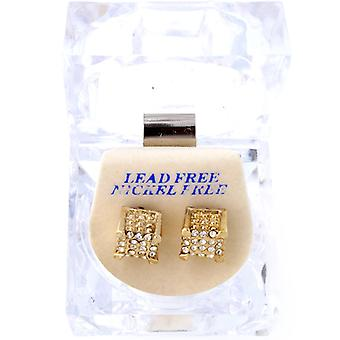 Iced out bling earrings box - 3D DICE gold