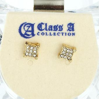 Iced Out Bling Ohrstecker Box - SQUARE 5mm gold