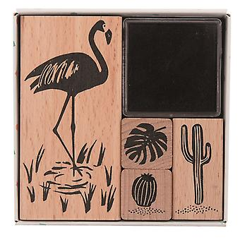 Tropical Themed Stamp Set - Flamingo, Cactus, Leaf 4 Stamps and Black Ink Craft