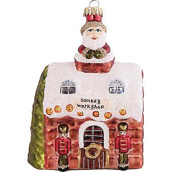 Santas North Pole Shop Christmas Holiday Ornament Glass