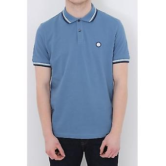 Pretty Green Tipped Polo - Mid Blue
