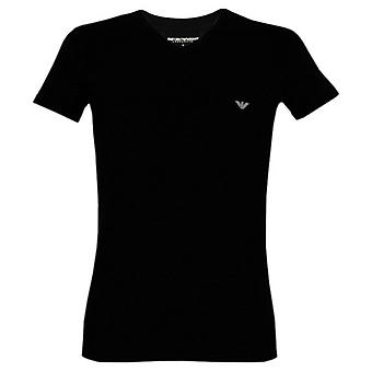 Emporio Armani Eagle Stretch Cotton V-Neck T-Shirt, Black
