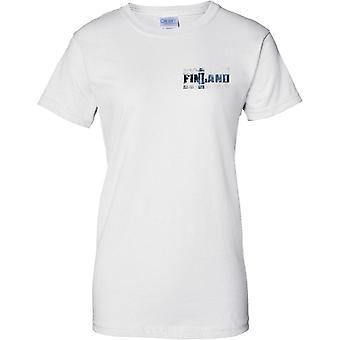 Efecto de bandera de Finlandia Grunge país nombre - señoras pecho diseño camiseta