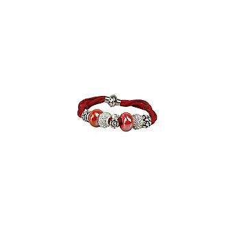 Red Suede Look Bracelet With Tribal Beading
