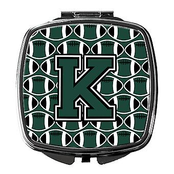 Letter K Football Green and White Compact Mirror