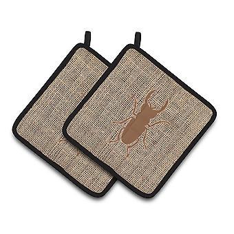 Beetle finto della tela da imballaggio e marrone paio di presine