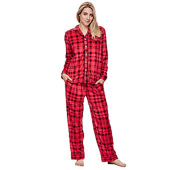 Ladies DKNY cardinale pigiama PLAID rosso