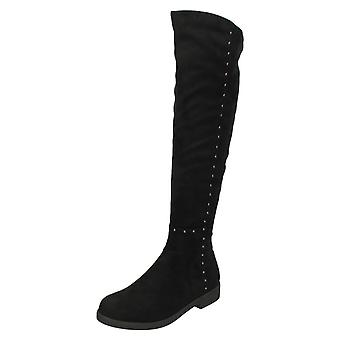 Ladies Spot On Mid Heel Knee High Boots F50851
