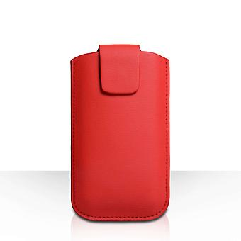 YouSave Lichee PU Leather Pouch (L) - Red