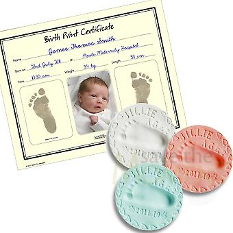 Clay Hand and Foot Print Kit with Inkless Birth Certificate Keepsake Gift Set