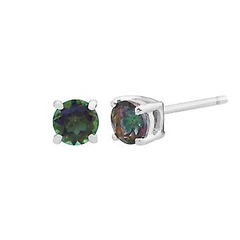 Gemondo 9ct White Gold 0.28ct Mystic Green Topaz 4 Claw Set Stud Earrings 3.5mm