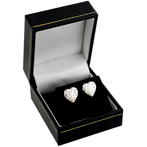 Silver 10x10mm patterned heart shaped stud Earrings