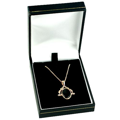 9ct Rose Gold 29x20mm 2 stone spinning Fob Pendant with a curb Chain 16 inches Only Suitable for Children