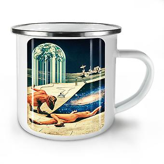 Naked Moon Landing NEW WhiteTea Coffee Enamel Mug10 oz | Wellcoda