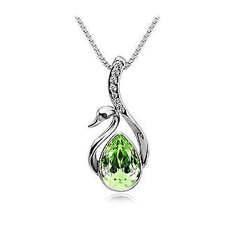 Womens zilver en licht groene stenen Swan hanger ketting met ingelegde stenen sieraden