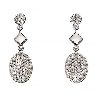 Elements Silver Oval Pave Drop Earrings - Silver/Clear
