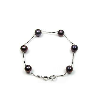 Bracelet woman in Silver 925/1000 and black culture of freshwater pearls