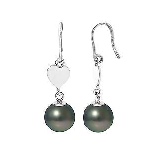Earrings heart dangling pearls of Tahiti and Silver 925/1000