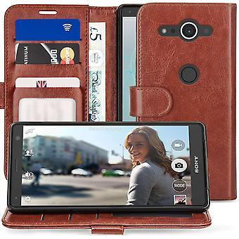 Sony Xperia XZ2 kompakt PU skinn ID står lommebok - Brown