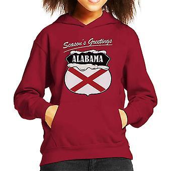 Seasons Greetings Alabama State Flag Christmas Kid's Hooded Sweatshirt