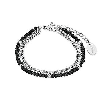 s.Oliver Jewel Damen Armband Armkette Edelstahl silber schwarz 2018347