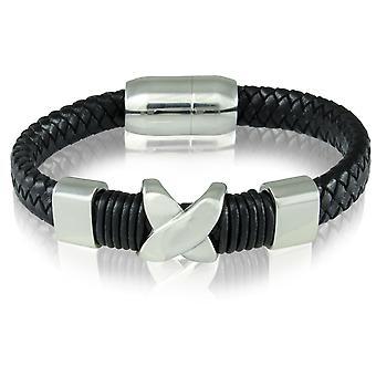 Armband leder armband magneet gesp zwart 7221 schipper