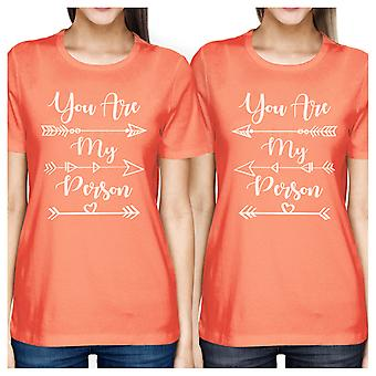 You Are My Person Cute Graphic Best Friend Matching Tee Shirt Peach