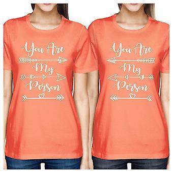 Du är min Person söt grafisk bästa vän matchande Tee Shirt persika