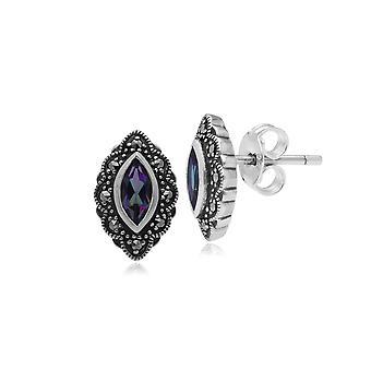 Gemondo Sterling Silver Mystic Green Topaz & Marcasite Art Nouveau Stud Earrings
