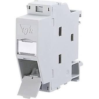 Szyna DIN gniazdka sieci CAT 6 Metz Connect 1309427103-E jasny szary