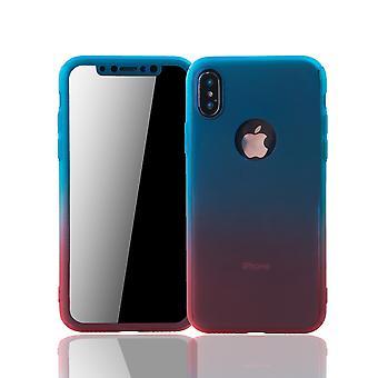 Apple iPhone X telefon fall fullt skydd tank skyddsglas blå / röd