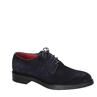 Handmade in Italy men's derby shoes in blue suede