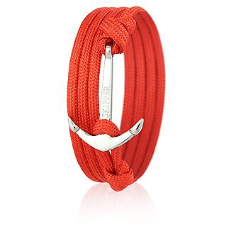 Skipper anchor bracelet wristband nylon of red with silver anchor 6629