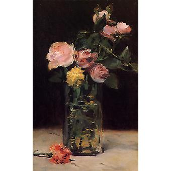 Roses in a Glass Vase, Edouard Manet, 40x60cm with tray