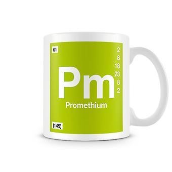 Wetenschappelijke bedrukte Mok met Element symbool 061 Pm - Promethium