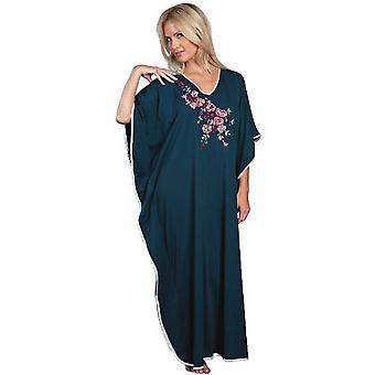 Ladies Embroidered Satin Trim Long Kaftan Sleepwear FREE SIZE FITS MOST 9985