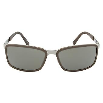 Porsche Design Design P8552 D Rectangular Sunglasses | Brown/Silver Frame | Grey Lens