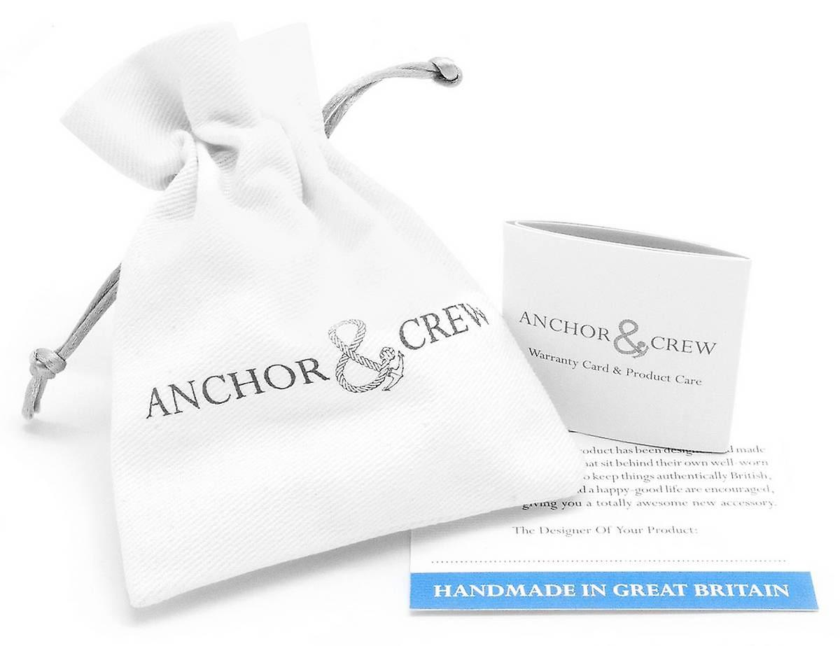 Anchor and Crew Admiral Silver and Leather Bracelet - Dark Brown