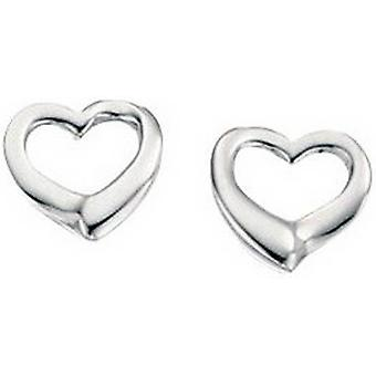 Begin klein Open hart Stud Oorbellen - zilver