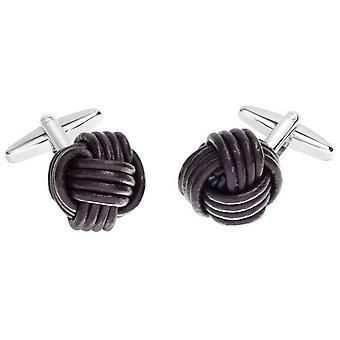 David Van Hagen Leather Knot Cufflinks - Brown/Silver