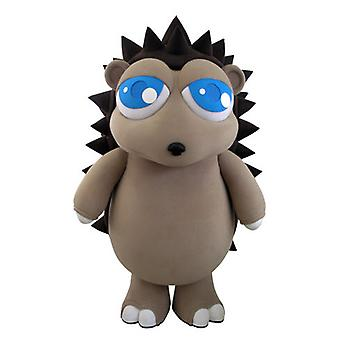 mascot SPOTSOUND of gray and Brown Hedgehog with pretty blue eyes
