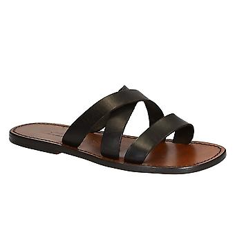 Gianluca Handmade genuine brown leather men's slippers sandals