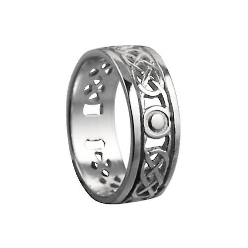 9ct White Gold 6mm pierced Celtic Wedding Ring