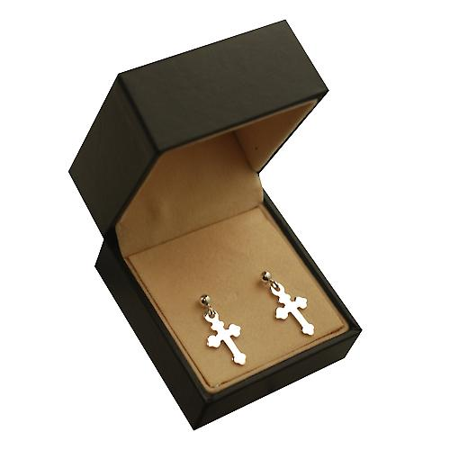 Silver 13x10mm plain Cross Dropper Earrings