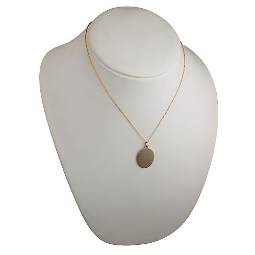 9ct Gold 27x21mm plain oval Disc with Cable link chain