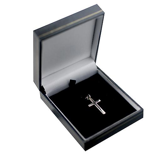 9ct white gold 25x15mm plain solid block Cross