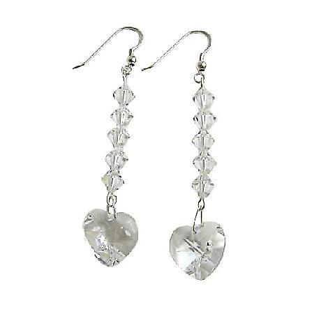 Clear Swarovski Heart Crystal Chandelier Silver 92.5 Hook Earrings